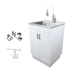 Transolid 24-in All-in-One Laundry/Utility Sink Kit with Faucet in White, Laundr