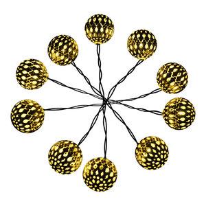 Modern Home Solar LED String Lights, Moroccan Metal Globe Lanterns