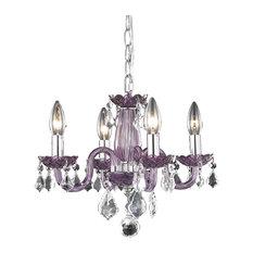Rococo 4 Light Mini Chandelier in Purple