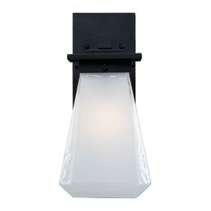 Outdoor Beacon Arm Sconce, Textured Black, Opal Glass