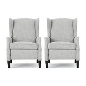 Corbin Fabric Recliner, Set of 2, Light Gray Tweed and Dark Brown