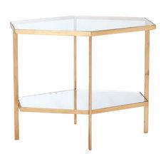 Vera Modern Clear Glass Hexagon Gold Metal Side Table - Tal