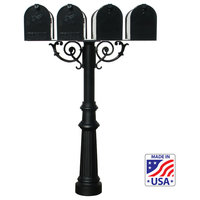 The Hanford Quad Mailbox Post System, Scroll Supports, Black, HPWS4-US-800-E1