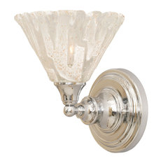 "Wall Sconce In Chrome, 7"" Italian Ice Glass"