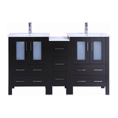 "60"" Belvedere Modern Espresso Double Bathroom Vanity With Ceramic Top"