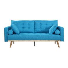 Divano Roma Furniture   Mid Century Modern Tufted Linen Fabric Sofa, Light  Blue