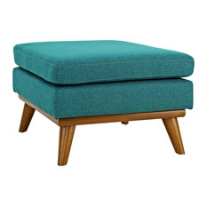 Teal Engage Upholstered Fabric Ottoman