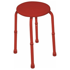 Contemporary Adjustable Stool With Aluminium Frame, Red