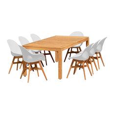 Amazonia Teak Charlotte 9-Piece Patio Dining Set, White