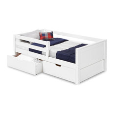Twin Day Bed With Front Guard Rail and Drawers, Panel Headboard, White Finish