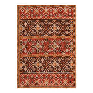 Akot Red and Chocolate Indoor/Outdoor Rug, 160x231 Cm