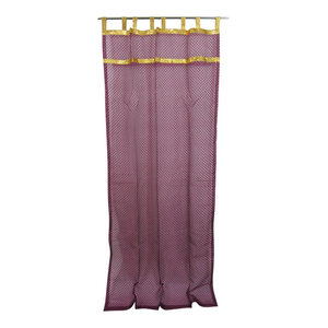 Mogul Interior - 2 Indian Curtain Sheer Purple Organza Golden Sari Border Window Treatment, 48x96 - Curtains