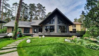 Одноэтажный загородный дом с вторым светом