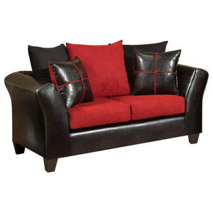 Groovy Bonded Leather Rocker Recliner Red Contemporary Inzonedesignstudio Interior Chair Design Inzonedesignstudiocom