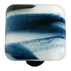 Art Glass Square Swirl Knob, Alum Post, Metalic Blue Clear Swirl