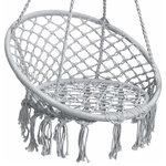 Brawbuy - Hanging Hammock Chair Macrame Swing, Lounge Swing Chair, Gray - Ideal for your bedroom, patio, and more, this stylish indoor/outdoor hanging chair can be hung from any sturdy overhang for the perfect lounging spot