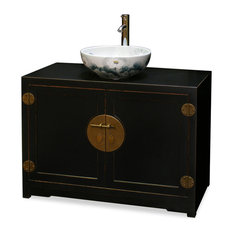 Elmwood Ming Style Vanity Cabinet, With Bowl and Faucet