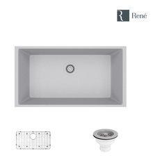 R3-1006-PWT Single Bowl Composite Granite Sink, Pewter, Strainer