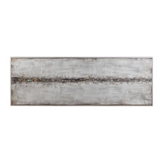"""Modern Industrial Silver Gold Metallic 61"""" Painting 