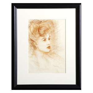 """Dimitrie Berea """"Portrait Of A Woman, 18"""" Ink Drawing"""