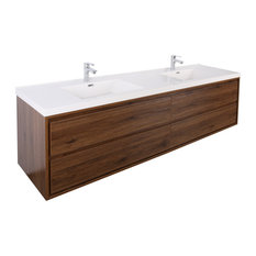 """MOM 72"""" Wall Mounted Vanity with 4 Drawers and Acrylic Double Sink, Rose Wood"""