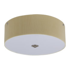 "16"" Flushmount In Brushed Nickel Finish With Chamois Pleated Parchment Shade"