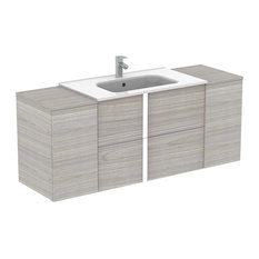 Onix Modern Wall Mounted Bathroom Vanity. 56 Inches. Grey. 2 Drawer + Cabinets