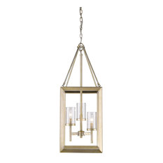 Smyth 3 Light Pendant, White Gold With Clear Glass