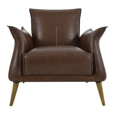 """Moes Home Collection WH-1009 Verona 31"""" Wide Oak and Leather Accent Chair"""