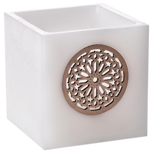 Square Deluxe Paraffin Eternity Candle, White, Large