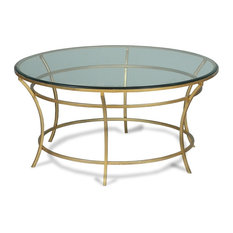 """36"""" Marco Coffee Table Round Iron Base Antique Gold Finish Thick Glass Top"""