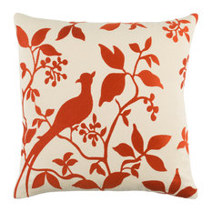 """Transitional Cotton Cream and Burnt Orange Accent Pillow, 18""""x18"""""""