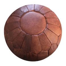 Retro Design Moroccan Leather Pouf, Rustic Brow, Stuffed