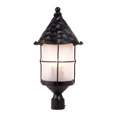 Rustica 3 Light Outdoor Post Lamp In Matte Black And Scavo Glass