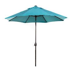 Sunbrella-Fabric Umbrella With Auto-Tilt and Crank, Blue