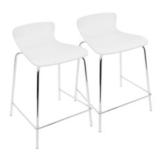 LumiSource Woodstacker Counterstools White Set Of 2
