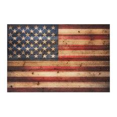 """American Flag"" Arte de Legno Digital Print on Solid Wood Wall Art, 36""x1.5""x24"""