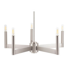Linea di Liara Trento 5 Light Chandelier, Brushed Nickel