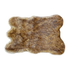 Faux Fur Light Brown Wolf With Bear Throw Rug, 4'x6'