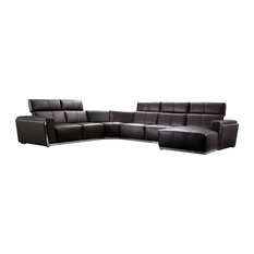 Soflex Austin Modern Dark Brown Genuine Leather Sectional Sofa Right Chaise