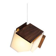 Mica L 1-Light Pendant, Wood: Oiled Walnut, Led