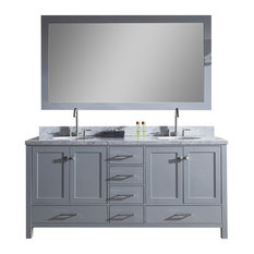 "Ariel Cambridge 73"" Double Sink Bathroom Vanity Set, Grey"
