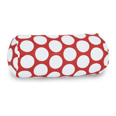 Red Hot Large Polka Dot Round Bolster Pillow 18.5x8