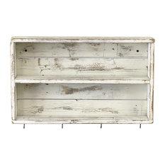Rustic Double Wall Shelf, White