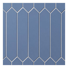 """Axis 2.6""""x13"""" Polished Elongated Hex Ceramic Wall Tile, Blue"""