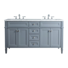 "Anastasia French 60"" Double Sink Bathroom Vanity, Gray"