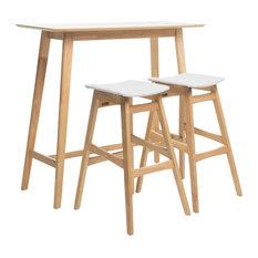 GDF Studio 3-Piece Ethel Natural Oak Finish Rectangular Bar, Light Beige Set
