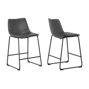 Adan Iron Frame Vintage Gray Faux Leather Stools, Set of 2, Counter Height