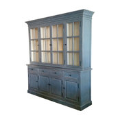 Large Distressed Double Deck Glazing Cabinet With Glass Door and Drawer