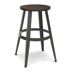 OFM Edge Series 24-inch Wood Stool Backless Stool With Steel Foot Ring Walnut